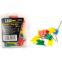 Кнопки гвоздики с флажками Leo , 50шт., разноцвет., матер. шляпки -пластик, пласт.кор.