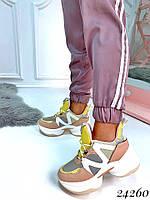 Кроссовки SKECHERS на высокой подошве пудра, фото 1