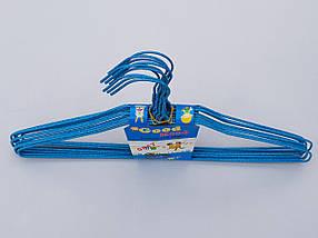 Плечики вешалки  тремпеля проволока в порошковой покраске синего цвета, длина 38,5 см, в упаковке 10 штук, фото 2