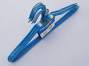 Плечики вешалки  тремпеля проволока в порошковой покраске синего цвета, длина 38,5 см, в упаковке 10 штук, фото 3