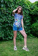 Брендовая футболка летняя с коротким рукавом, джинсовый принт с тропическими цветами дев.