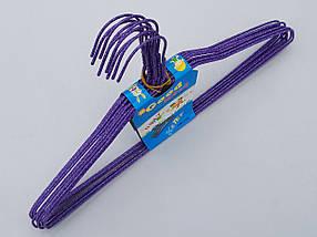 Плечики вешалки  тремпеля проволока в порошковой покраске фиолетового цвета, длина 38,5 см, в упаковке 10 штук, фото 3