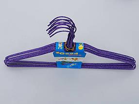 Плечики вешалки  тремпеля проволока в порошковой покраске фиолетового цвета, длина 38,5 см, в упаковке 10 штук, фото 2