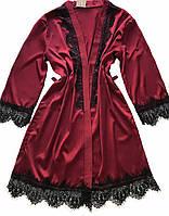 Женский шелковый халат S-M бордо