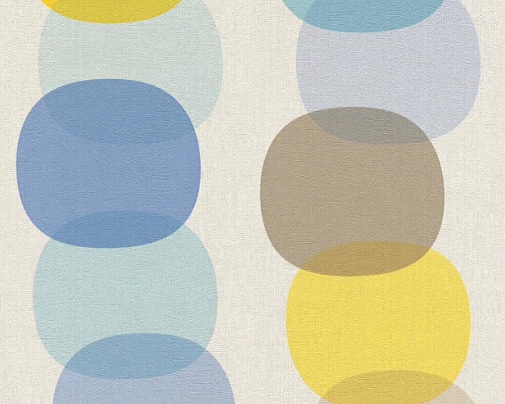 Шпалери для вставки 355901, вінілові зносостійкі, геометрія з великими кулями, жовтими і синіми