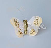 Бабочка ЗОЛОТИСТАЯ 5 см., фото 1