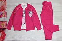 Костюм для девочки Розовый Двунитка Турция от 3 до 10 лет