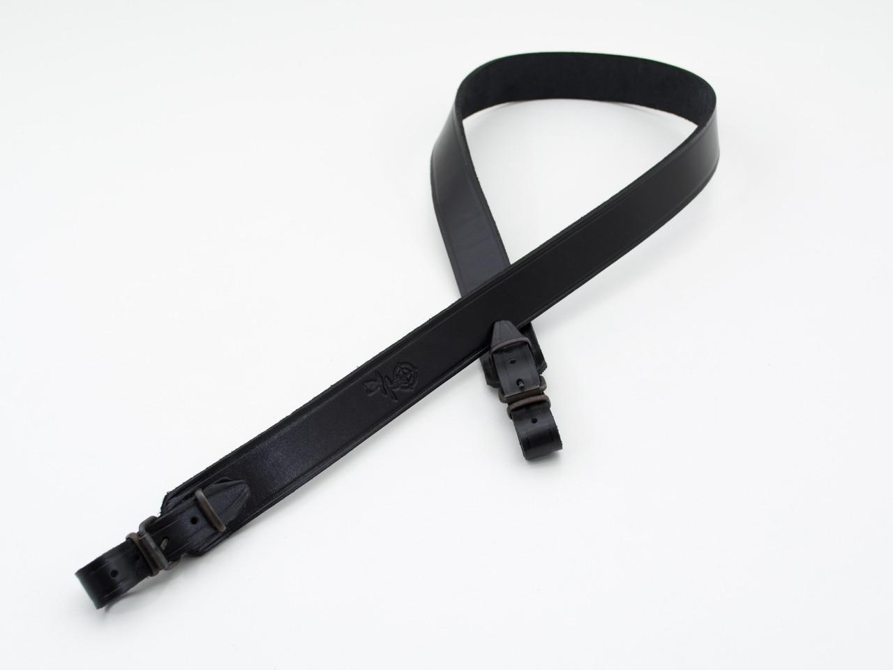 Ремень для ружья прямой кожаный черный 5021/1