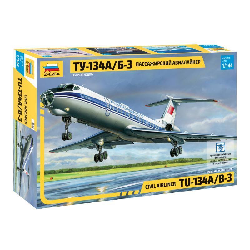 Пассажирский авиалайнер Ту-134А/Б-3. Сборная модель 1/144 ZVEZDA 7007