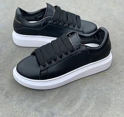 Женские кроссовки Adidas Alexander McQueen Oversized Leather Black White. Живое фото (Реплика ААА+)