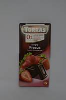 Черный шоколад Torras без сахара с клубникой, 75 г