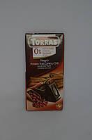 Черный шоколад Torras без сахара с красным перцем и корицей, 75 г