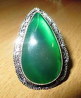 Перстень  с  зеленым ониксом, размер 17.2 от студии LadyStyle.Biz
