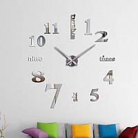 3D настенные часы, бескаркасные часы, часы наклейка серебристые 90-120см