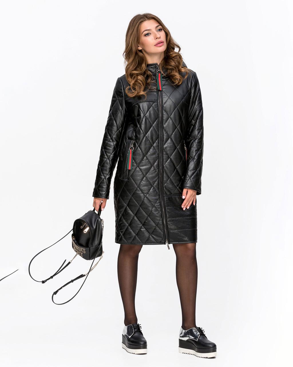 Демисезонная кожаная женская куртка с капюшоном, 58 60 62
