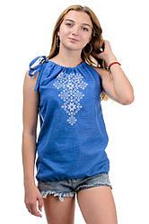 Літній жіночий топ-вишиванка, на зав'язках, машинна вишивка р. 42,44,46,48 джинс (012153)