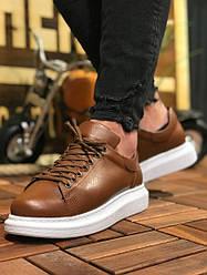 Мужские кроссовки коричневые на удобной толстой подошве