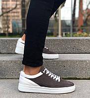 Мужские кроссовки премиум класса белые с коричневым на удобной толстой подошве