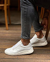 Мужские кроссовки премиум класса белые на удобной толстой подошве