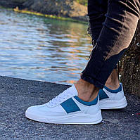 Мужские кроссовки премиум класса белые с бирюзовым на удобной толстой подошве