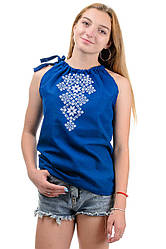 Літній жіночий топ-вишиванка, на зав'язках, машинна вишивка р. 42,44,46,48 синій (012154)