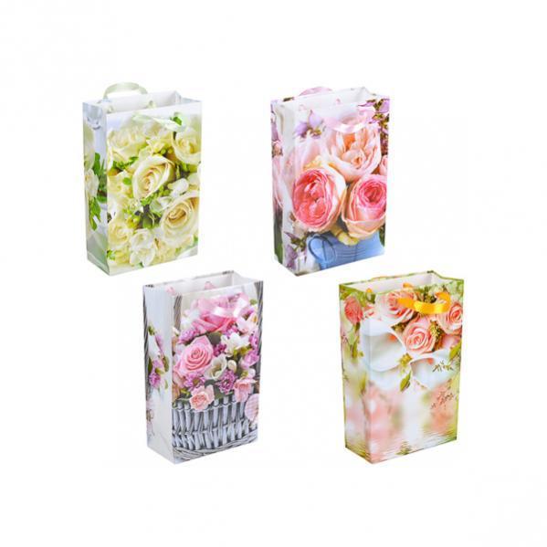 """Пакет цветной малый """"Розы"""" 11х18х5 см"""