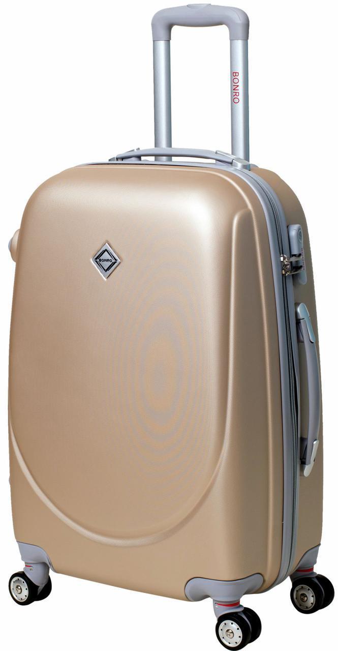 Дорожный чемодан на колесах Bonro Smile с двойными колесами Шампань Небольшой
