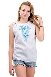 Літній жіночий топ-вишиванка, на зав'язках, машинна вишивка р. 42,44,46,48 блакитний (012151)