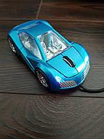 Мышь компьютерная проводная, голубая., фото 1