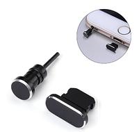 Комплект заглушек в разъем для наушников 3,5 мм и зарядки для смартфона iPhone, Black Черный