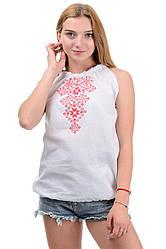 Літній жіночий топ-вишиванка, на зав'язках, машинна вишивка р. 42,44,46,48 рожевий (012150)