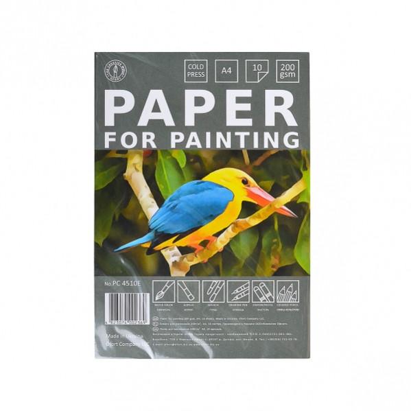 Бумага для рисования А4 10 листов, 200г/м², в п/п пакете