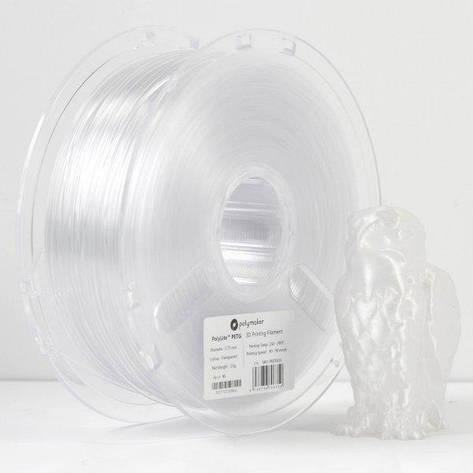 Пластик в котушці PETG PolyLite 1,75 мм, Polymaker, 1кг прозорий, фото 2