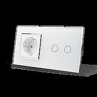 Сенсорный выключатель на 2 канала с розеткой Livolo, цвет белый, хром, стекло VL-C702/C7C1EU-11-chrome