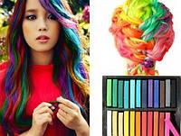 Кольорова пудра, крейда, тіні для волосся, кольорова крейда Hot Huez, в упаковці 12 кольорів