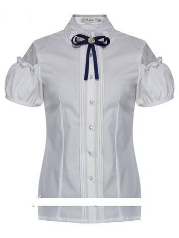 Детская школьная блуза для девочки с коротким рукавом от Deloras 61636 | 128, 146р., фото 2