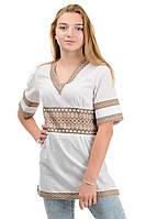 Женская летняя туника-вышиванка в украинском стиле, р-р 42,44,46,48,50,52 беж (012142) вишиванка українська