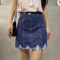 Женская короткая джинсовая юбка рваная Cool Baby синяя М