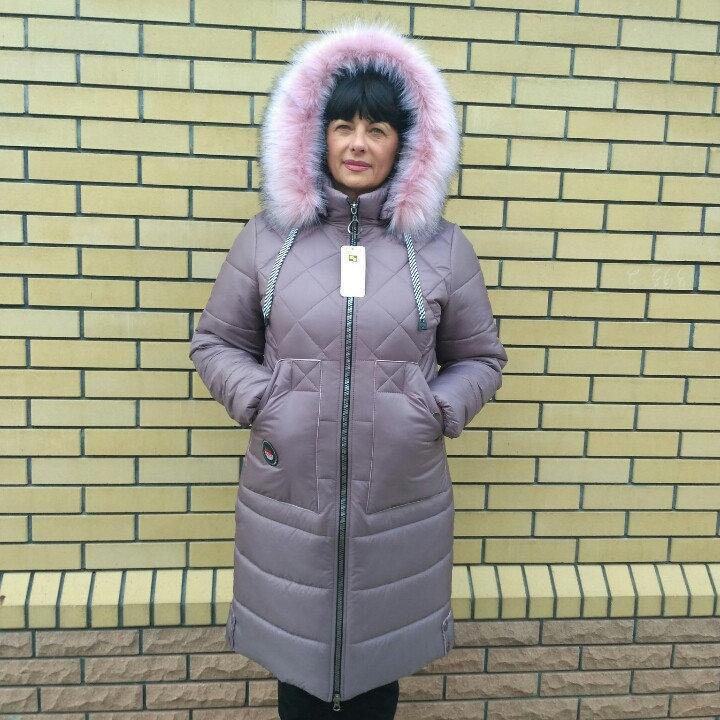 Пальто зимние женские  больших размеров  46-60 сирень