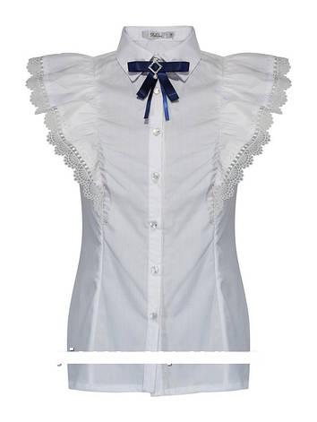 Детская школьная блуза для девочки с коротким рукавом от Deloras 62021 | 122-170р., фото 2
