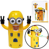 Детский Диспенсер для зубной пасты Миньен желтый + держатель зубных щёток