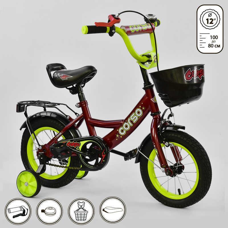 """Велосипед 12"""" дюймов 2-х колёсный G-12041 """"CORSO"""" (1) КРАСНЫЙ, ручной тормоз, звоночек, сидение с ручкой, доп. колеса, СОБРАННЫЙ НА 75% в коробке"""