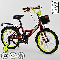 """Велосипед 18"""" дюймов 2-х колёсный G-18670 """"CORSO"""" (1) КРАСНЫЙ, ручной тормоз, звоночек, сидение мягкое, доп. колеса, СОБРАННЫЙ НА 75%, в коробке"""