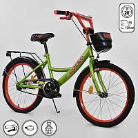 """Велосипед 20"""" дюймов 2-х колёсный G-20979 """"CORSO"""" (1) ЗЕЛЕНЫЙ, ручной тормоз, звоночек, мягкое сидение, СОБРАННЫЙ НА 75%, в коробке"""