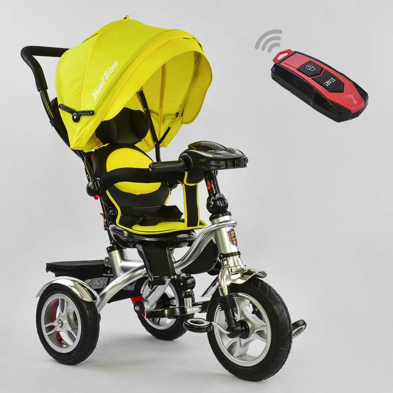 Велосипед 3-х кол. 5890 - 7019 Best Trike (1) ЦВЕТ- Желтый, ПОВОРОТНОЕ СИДЕНИЕ, СКЛАДНОЙ РУЛЬ, Рус.озвучка, НАДУВНЫЕ КОЛЕСА, ПУЛЬТ(свет,звук)