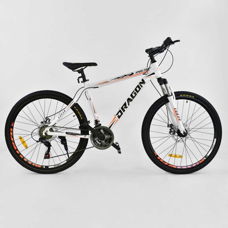"""Велосипед Спортивный CORSO DRAGON 26""""дюймов JYT 010 - 8018 WHITE (1) рама алюминиевая 17``, 21 скорость, собран на 75%"""