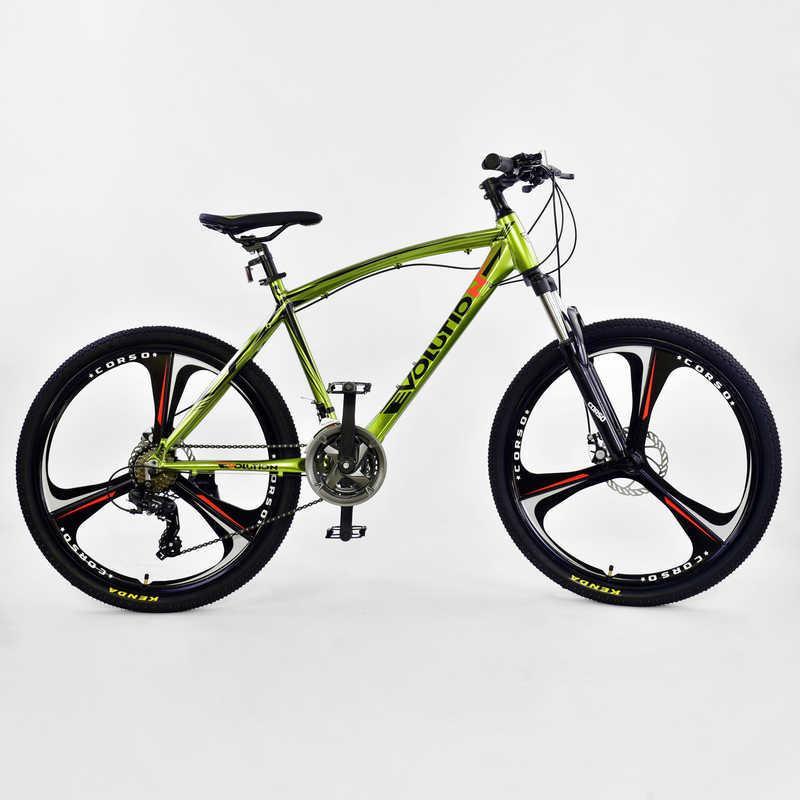 """Велосипед Спортивный CORSO EVOLUTION 26""""дюймов JYT 007 - 2270 GREEN (1) рама алюминиевая 17``, 24 скорости, собран на 75%"""