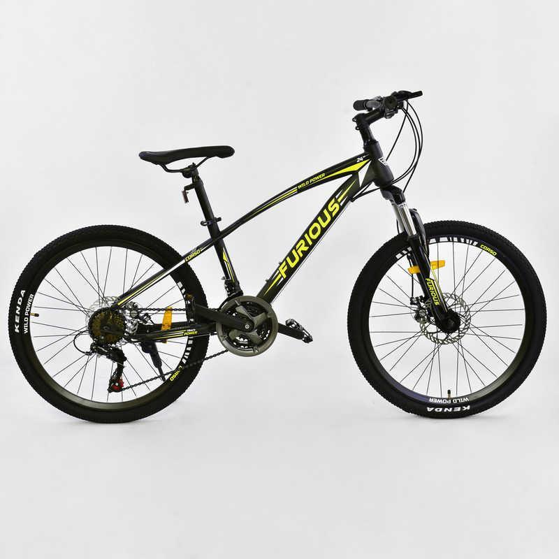 Велосипед Спортивный CORSO FURIOUS 24 дюйма, JYT 009 - 7008 BLACK-YELLOW (1) металлическая рама 13``, 21 скорость, собран на 75%