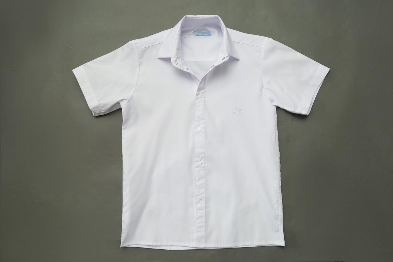 Рубашка белая р.122,128,134,140 на кнопках с коротким рукавом SmileTime