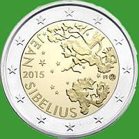 Финляндия 2 евро 2015 г. 150 лет со дня рождения Яна Сибелиуса . UNC